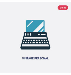 two color vintage personal computer icon from vector image