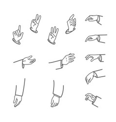 various gestures of human hands isolated on a vector image