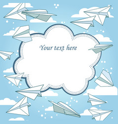 vintage frame with paper planes and text place vector image
