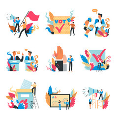 voting process people with loudspeakers and flags vector image