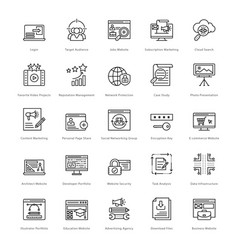 web and seo line icons 32 vector image