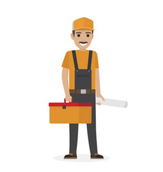 Whiskered erector in black overalls holds tool box vector