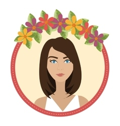 Woman face with flowers vector