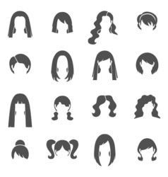 Woman Hairstyle Black White Icons Set vector image