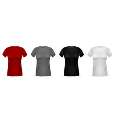 women t-shirts realistic isolated 3d female vector image