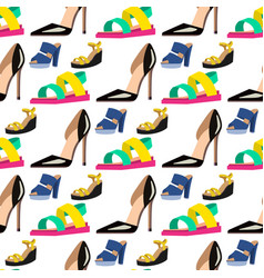 Womens shoes flat design seamless pattern vector