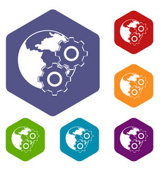 World planet and gears icons set hexagon vector