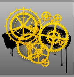 Yellow gear wheels of clockwork with black blot vector