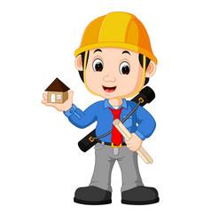 Young man architect cartoon vector