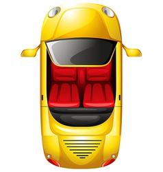 A topview of a yellow car vector image vector image
