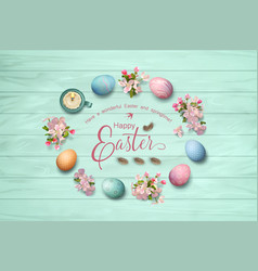 easter top view background vector image