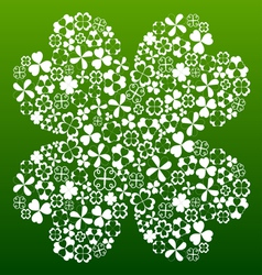 Four leaf clover made from small clover symbols vector image vector image