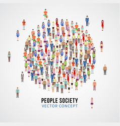 Large people crowd in circle shape society vector