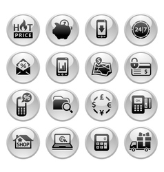 Shopping Icons Gray round buttons new vector image vector image