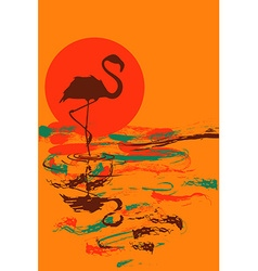 flamingo at sunset or sunrise vector image