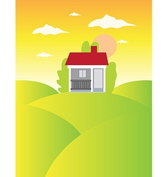House on meadow landscape background vector image vector image