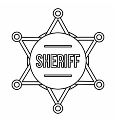 Sheriff badge icon outline style vector image vector image