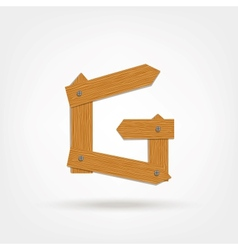 Wooden Boards Letter G vector image
