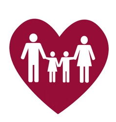 Family and heart vector image vector image