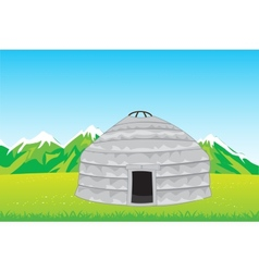 Home of the nomad in mountain vector image vector image
