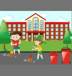 kids sweeping the road vector image