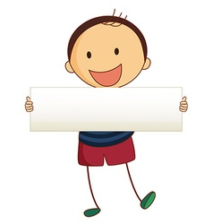 Little boy holding white board vector image vector image