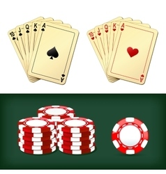 royal flush playing cards chips casino vector image