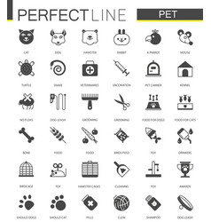 black classic web pet shop icons set vector image