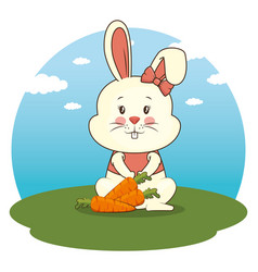 cute adorable bunny animal cartoon vector image