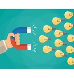 Hand with magnet attracting light bulbs idea vector image vector image