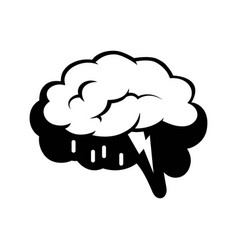 logotype of brain silhouette and rain cloud inside vector image vector image