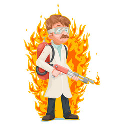 Mad scientist with flamethrower cleansing vector