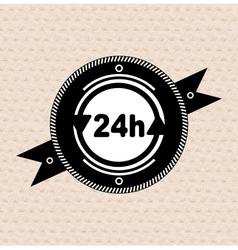 Vintage retro label tag badge 24 hours icon vector image