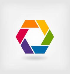 Abstract symbol rainbow hexagon vector