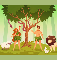 adam and eve bible story scene first vector image