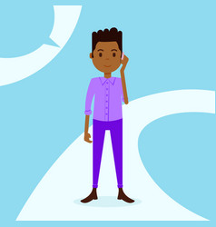 african teen boy character serious phone call male vector image