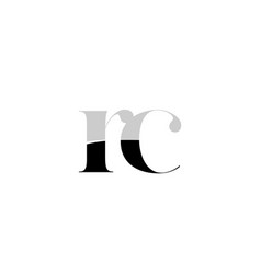 alphabet letter rc r c black and white logo icon vector image