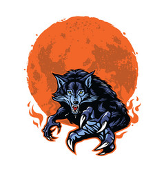 angry werewolf and moon logo template vector image