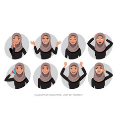 Arab women character set of emotions vector