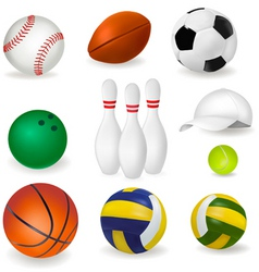 Big set of sport balls and tennis cap vector