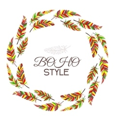 Boho style Wreath of vintage feathers on a white vector