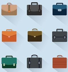 Briefcase icons set on background vector