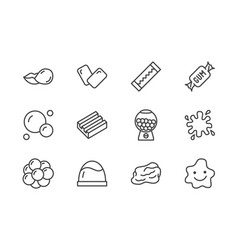 Bubble gum flat line icons set chewing candy in vector