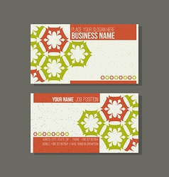 Business card template Floral green and orange vector
