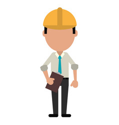 business man construction clipboard helmet vector image