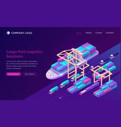 cargo port logistics solutions banner vector image
