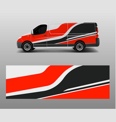 Cargo van decal with green wave shapes truck vector