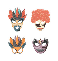 carnival set masks vintage icons vector image