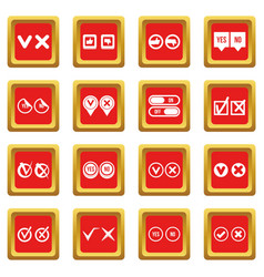 Check mark icons set red vector