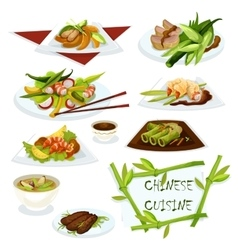 Chinese cuisine dishes for restaurant menu design vector